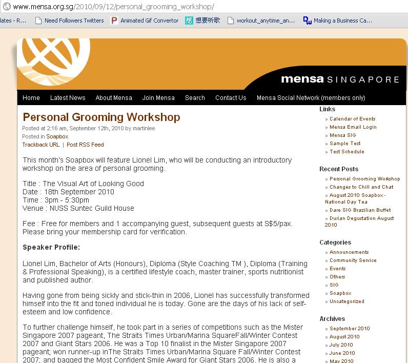 Grooming Workshop for Mensa Singapore