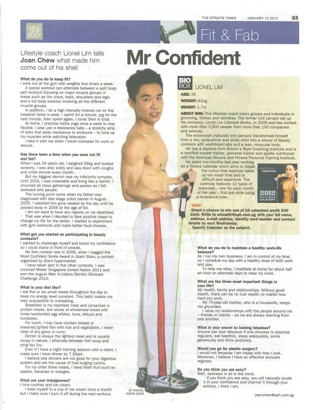 The Straits Times Mind Your Body Fit And Fab Article – Mr Confident