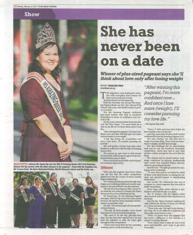 The New Paper Reports On Amazing Pageant 2012